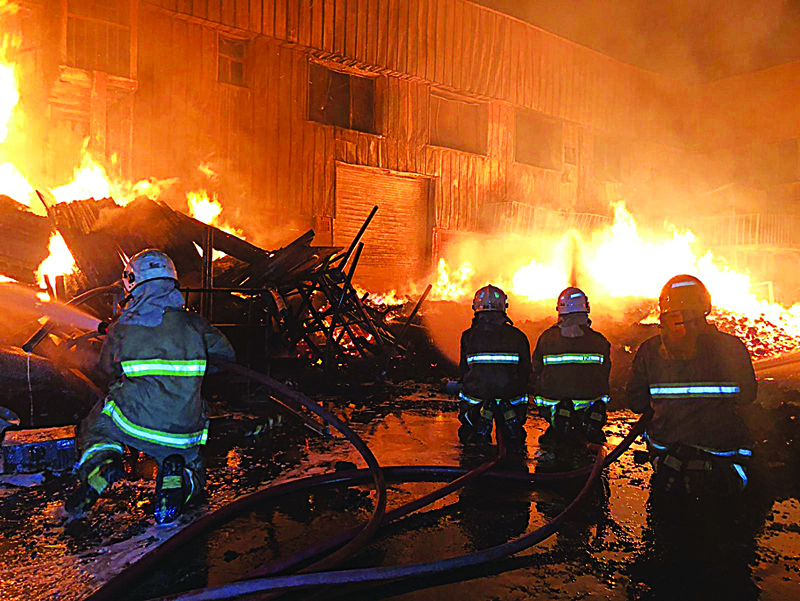 Five fire stations battle factory blaze